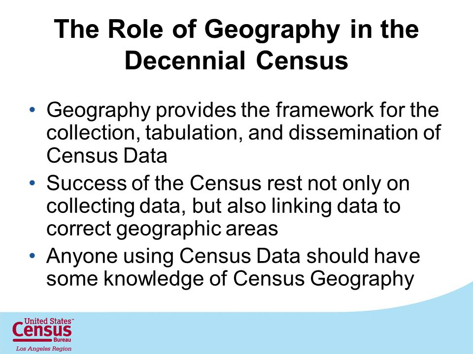 The Role of Geography in the Decennial Census Geography provides the framework for the collection, tabulation, and dissemination of Census Data Success of the Census rest not only on collecting data, but also linking data to correct geographic areas Anyone using Census Data should have some knowledge of Census Geography