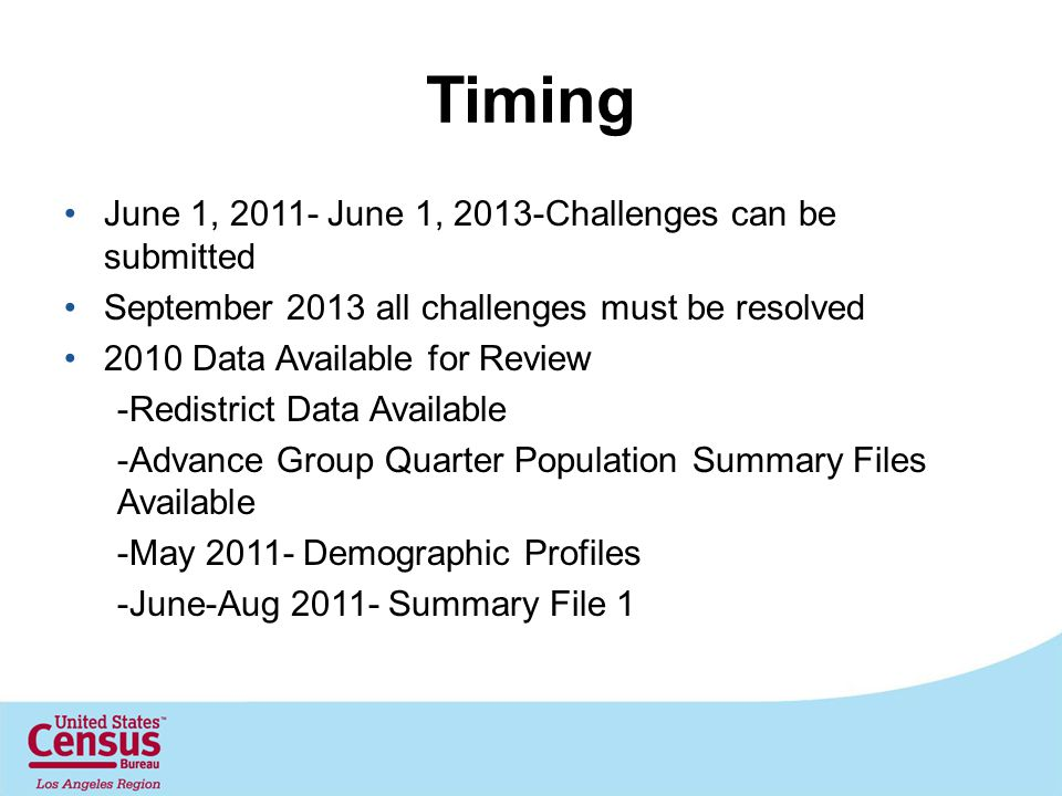 Timing June 1, 2011- June 1, 2013-Challenges can be submitted September 2013 all challenges must be resolved 2010 Data Available for Review -Redistrict Data Available -Advance Group Quarter Population Summary Files Available -May 2011- Demographic Profiles -June-Aug 2011- Summary File 1