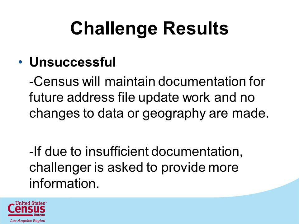 Challenge Results Unsuccessful -Census will maintain documentation for future address file update work and no changes to data or geography are made.