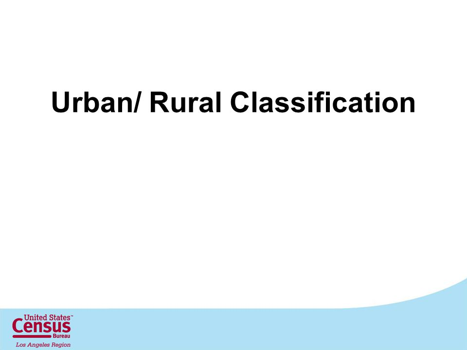 Urban/ Rural Classification