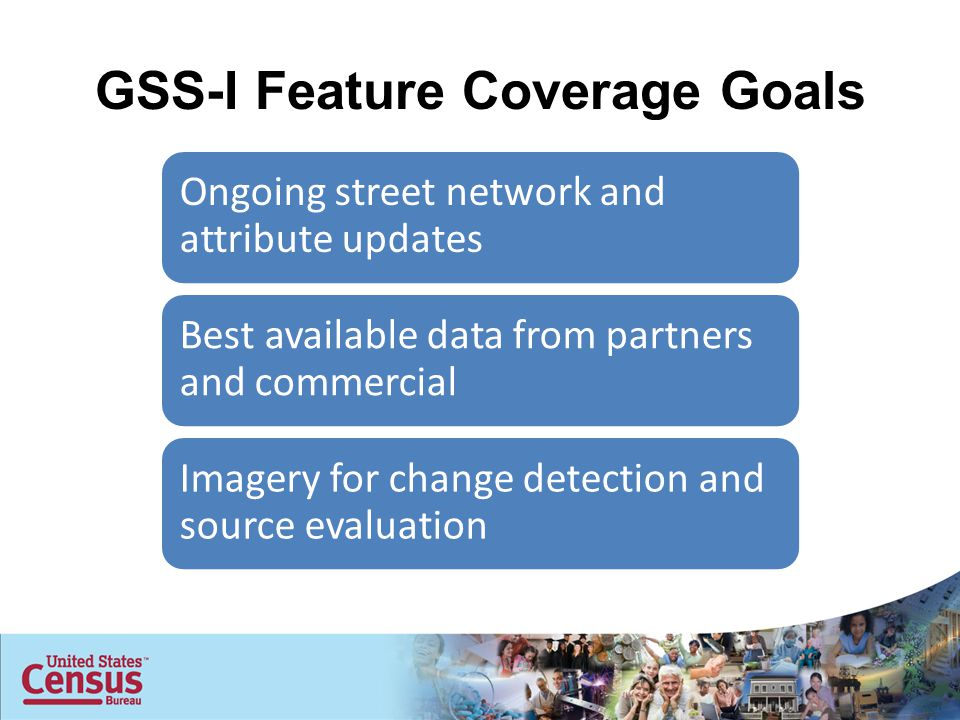 GSS-I Feature Coverage Goals Ongoing street network and attribute updates Best available data from partners and commercial Imagery for change detection and source evaluation