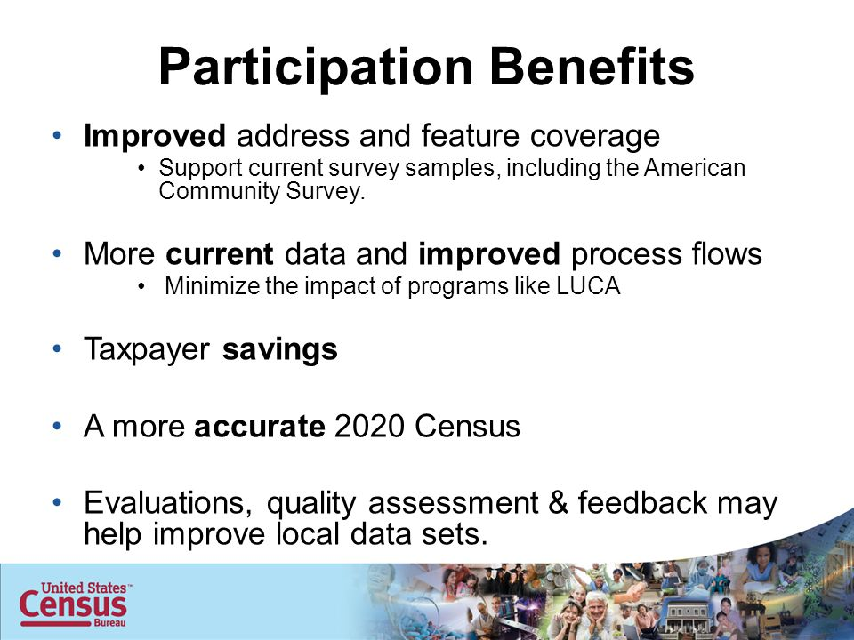 Participation Benefits Improved address and feature coverage Support current survey samples, including the American Community Survey.