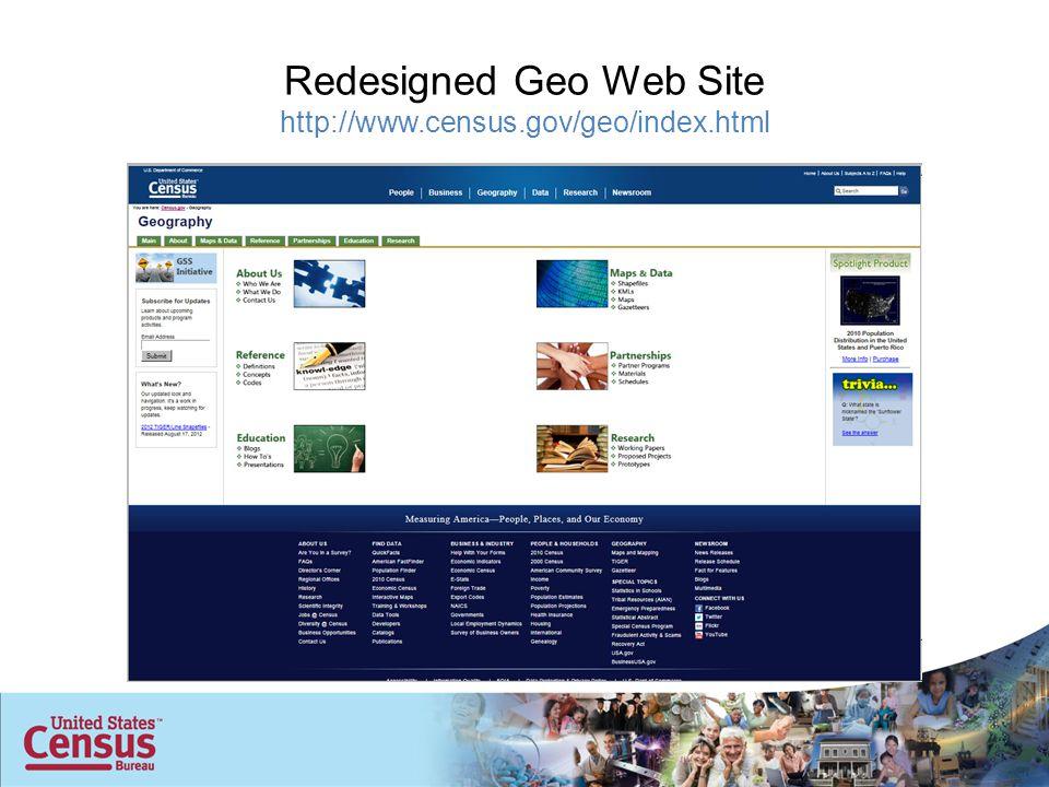 Redesigned Geo Web Site http://www.census.gov/geo/index.html
