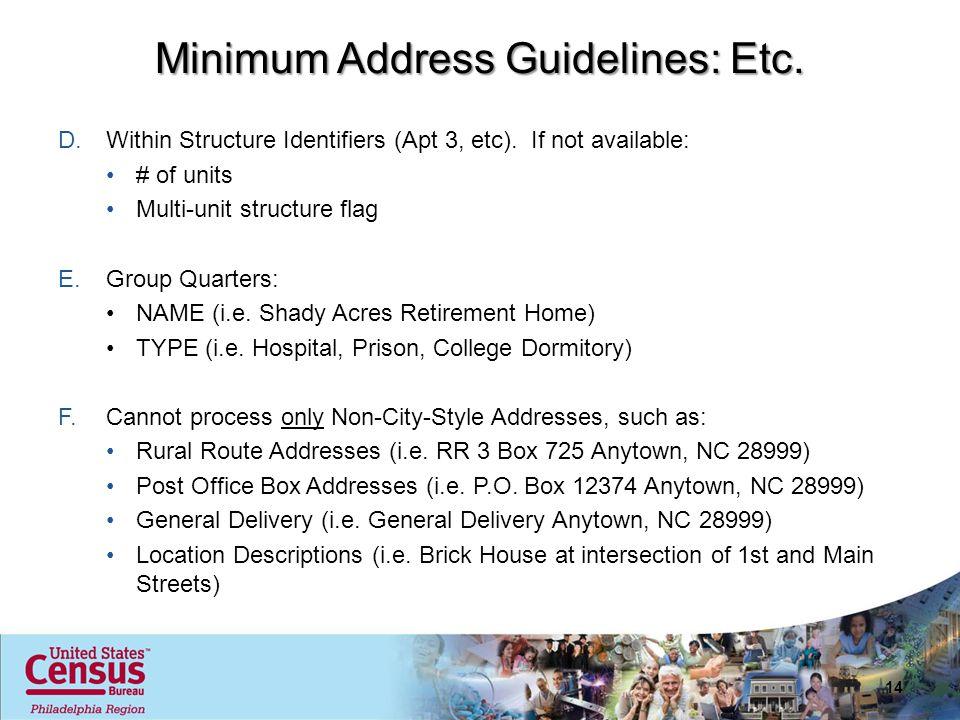 14 Minimum Address Guidelines: Etc.D.Within Structure Identifiers (Apt 3, etc).