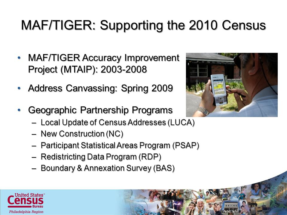 MAF/TIGER: Supporting the 2010 Census MAF/TIGER Accuracy Improvement Project (MTAIP): 2003-2008MAF/TIGER Accuracy Improvement Project (MTAIP): 2003-2008 Address Canvassing: Spring 2009Address Canvassing: Spring 2009 Geographic Partnership ProgramsGeographic Partnership Programs –Local Update of Census Addresses (LUCA) –New Construction (NC) –Participant Statistical Areas Program (PSAP) –Redistricting Data Program (RDP) –Boundary & Annexation Survey (BAS)