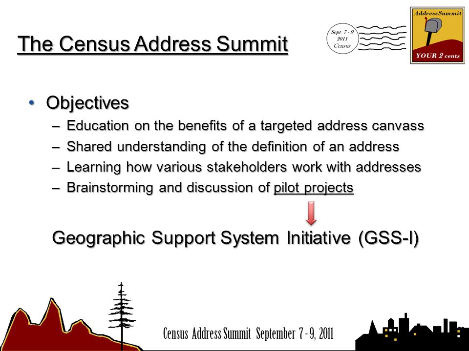 The Census Address Summit ObjectivesObjectives –Education on the benefits of a targeted address canvass –Shared understanding of the definition of an address –Learning how various stakeholders work with addresses –Brainstorming and discussion of pilot projects Geographic Support System Initiative (GSS-I)