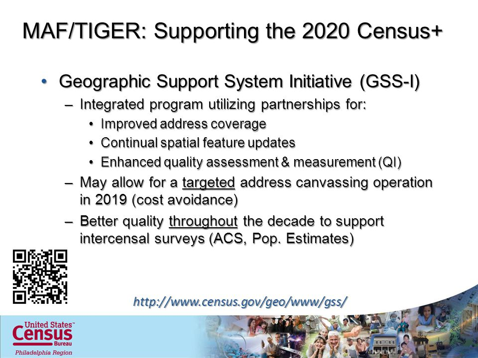 MAF/TIGER: Supporting the 2020 Census+ Geographic Support System Initiative (GSS-I)Geographic Support System Initiative (GSS-I) –Integrated program utilizing partnerships for: Improved address coverageImproved address coverage Continual spatial feature updatesContinual spatial feature updates Enhanced quality assessment & measurement (QI)Enhanced quality assessment & measurement (QI) –May allow for a targeted address canvassing operation in 2019 (cost avoidance) –Better quality throughout the decade to support intercensal surveys (ACS, Pop.