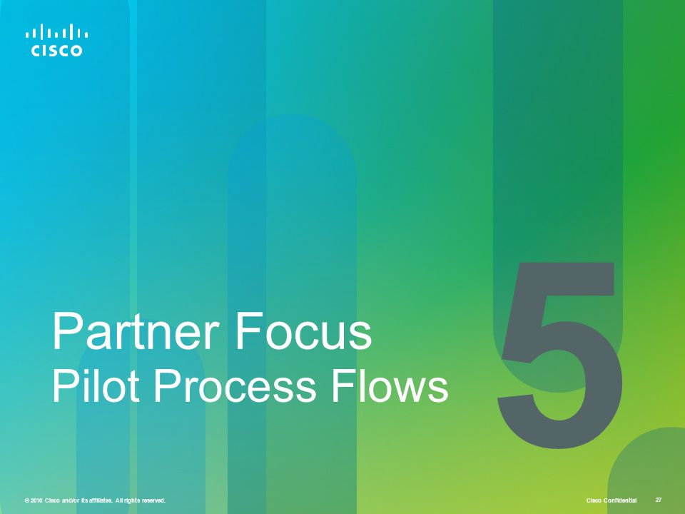 Cisco Confidential 27 © 2010 Cisco and/or its affiliates. All rights reserved. Partner Focus Pilot Process Flows 5