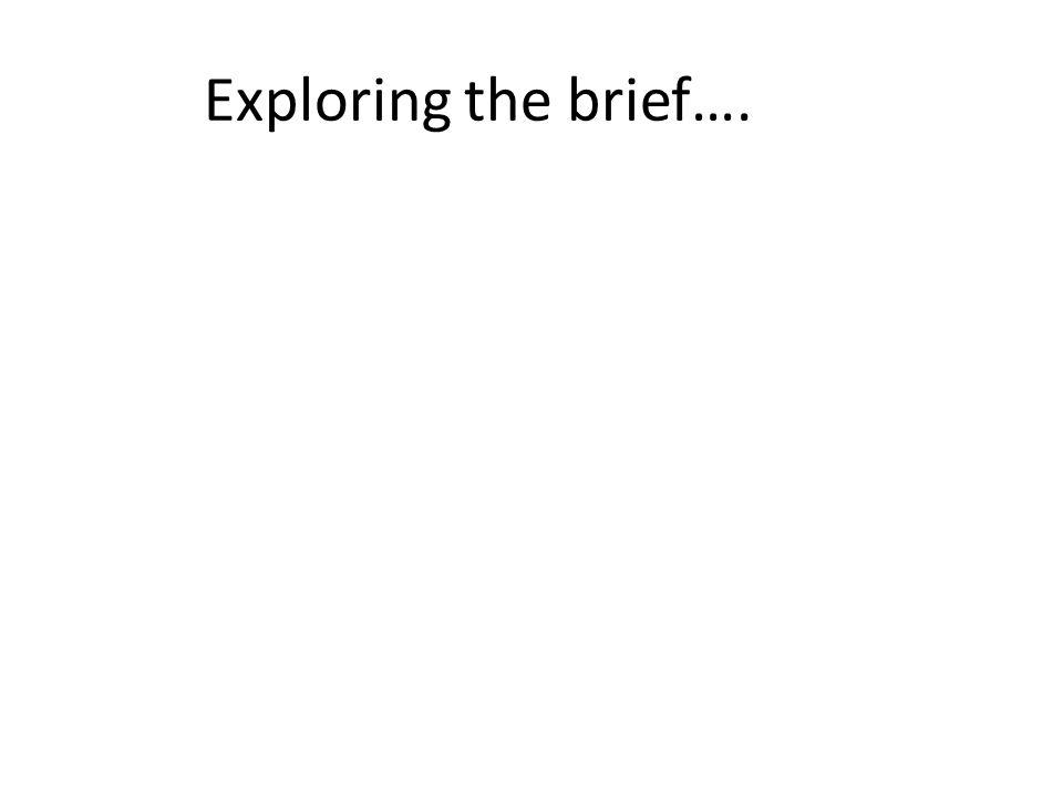Exploring the brief….