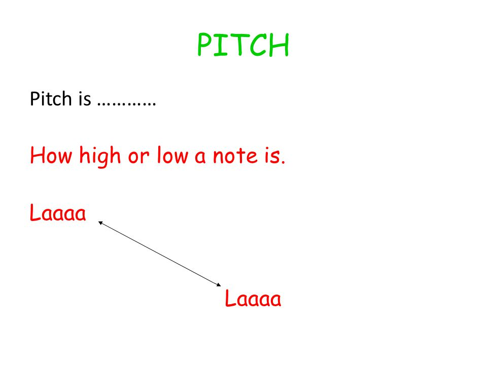 PITCH Pitch is ………… How high or low a note is. Laaaa