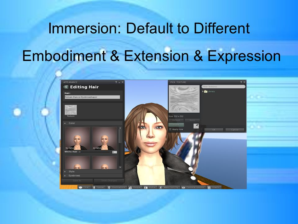 Immersion: Default to Different Embodiment & Extension & Expression