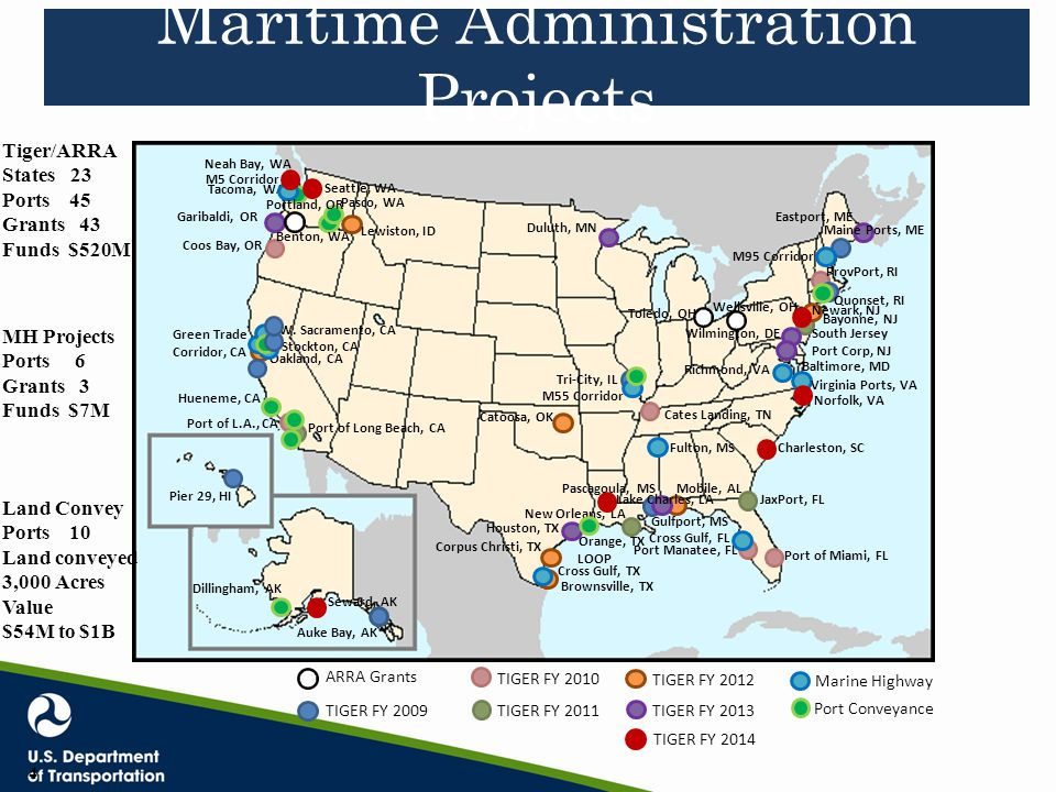 Maritime Administration Projects Auke Bay, AK Pier 29, HI Green Trade Corridor, CA Coos Bay, OR Port of L.A., CA Tri-City, IL Gulfport, MS Port Manate