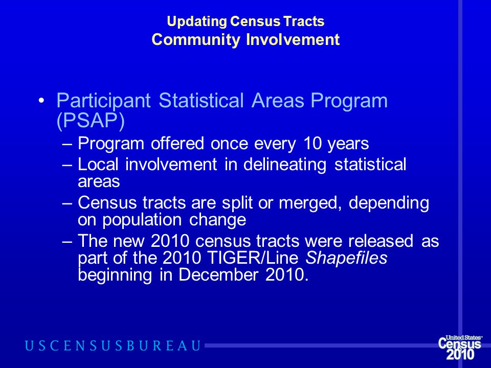 Updating Census Tracts Community Involvement Participant Statistical Areas Program (PSAP) –Program offered once every 10 years –Local involvement in delineating statistical areas –Census tracts are split or merged, depending on population change –The new 2010 census tracts were released as part of the 2010 TIGER/Line Shapefiles beginning in December 2010.