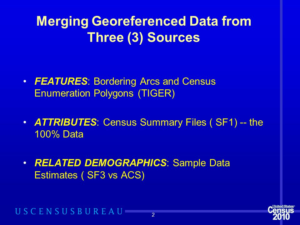 Merging Georeferenced Data from Three (3) Sources FEATURES: Bordering Arcs and Census Enumeration Polygons (TIGER) ATTRIBUTES: Census Summary Files ( SF1) -- the 100% Data RELATED DEMOGRAPHICS: Sample Data Estimates ( SF3 vs ACS) 2