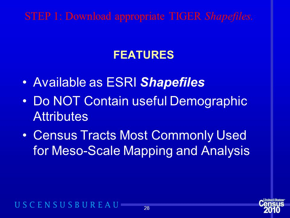 FEATURES Available as ESRI Shapefiles Do NOT Contain useful Demographic Attributes Census Tracts Most Commonly Used for Meso-Scale Mapping and Analysis 28 STEP 1: Download appropriate TIGER Shapefiles.