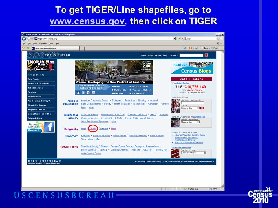 To get TIGER/Line shapefiles, go to www.census.gov, then click on TIGER www.census.gov 31