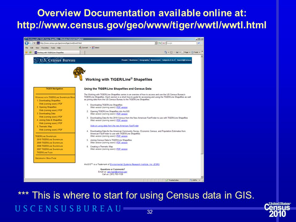 Overview Documentation available online at: http://www.census.gov/geo/www/tiger/wwtl/wwtl.html 32 *** This is where to start for using Census data in GIS.