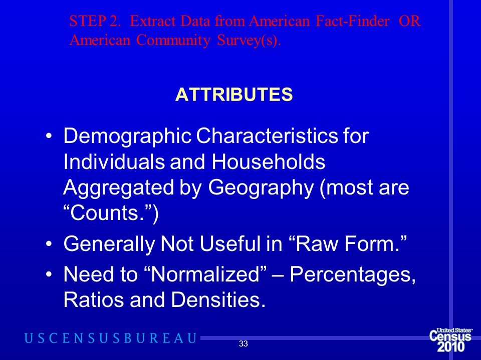 ATTRIBUTES Demographic Characteristics for Individuals and Households Aggregated by Geography (most are Counts. ) Generally Not Useful in Raw Form. Need to Normalized – Percentages, Ratios and Densities.