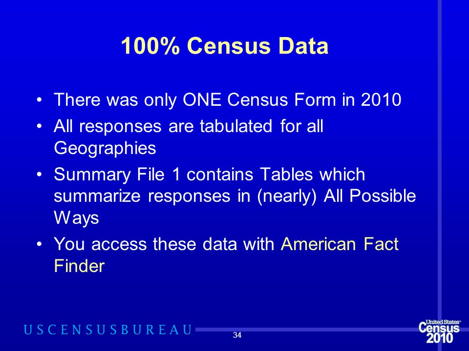 100% Census Data There was only ONE Census Form in 2010 All responses are tabulated for all Geographies Summary File 1 contains Tables which summarize responses in (nearly) All Possible Ways You access these data with American Fact Finder 34