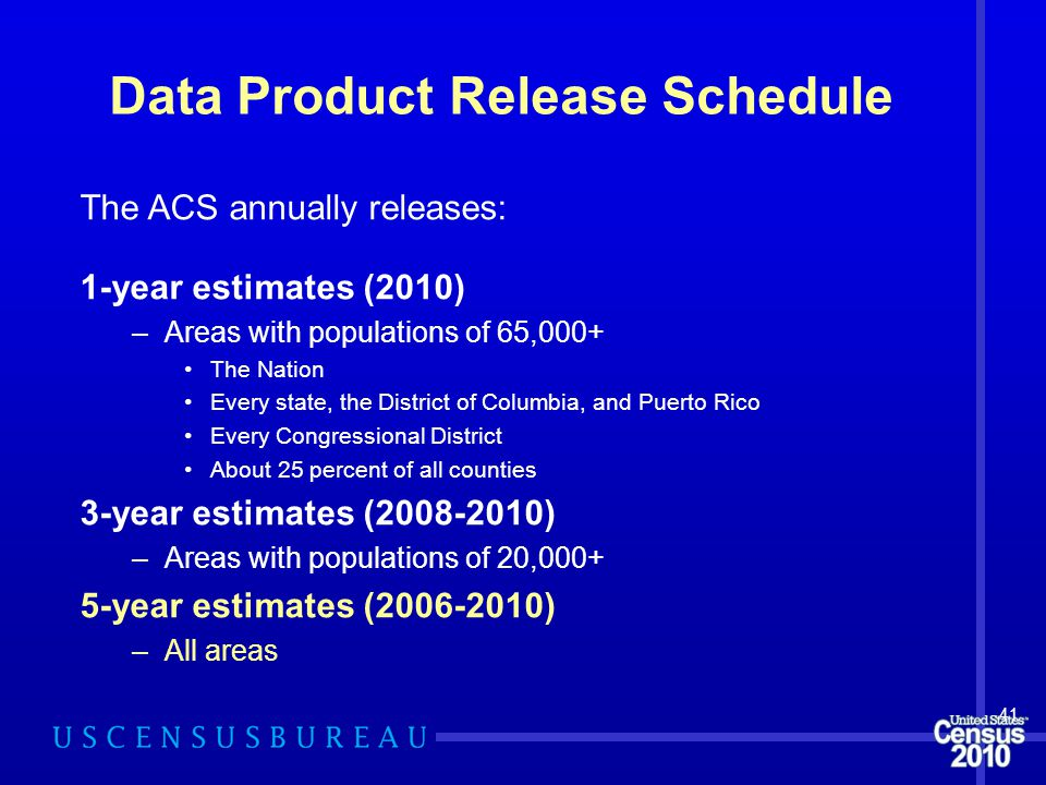 Data Product Release Schedule The ACS annually releases: 1-year estimates (2010) –Areas with populations of 65,000+ The Nation Every state, the District of Columbia, and Puerto Rico Every Congressional District About 25 percent of all counties 3-year estimates (2008-2010) –Areas with populations of 20,000+ 5-year estimates (2006-2010) –All areas 41