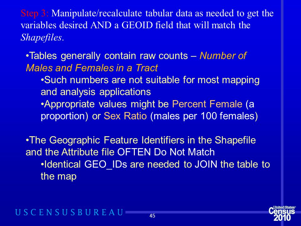 45 Step 3: Manipulate/recalculate tabular data as needed to get the variables desired AND a GEOID field that will match the Shapefiles.