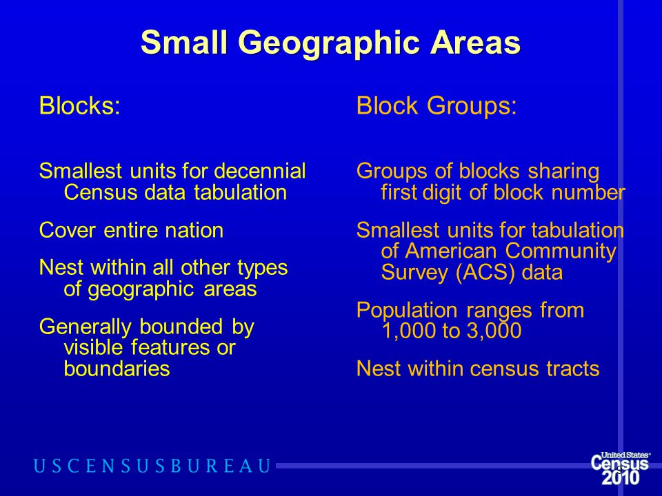 Small Geographic Areas Blocks: Smallest units for decennial Census data tabulation Cover entire nation Nest within all other types of geographic areas Generally bounded by visible features or boundaries Block Groups: Groups of blocks sharing first digit of block number Smallest units for tabulation of American Community Survey (ACS) data Population ranges from 1,000 to 3,000 Nest within census tracts 9