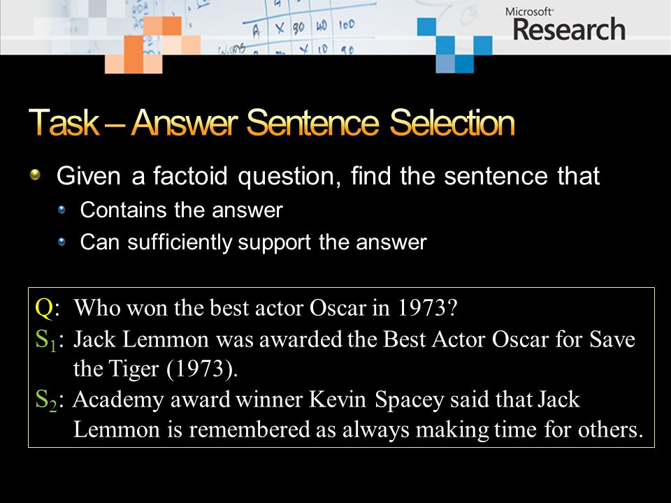 Three reasons/sources of errors Uncovered or inaccurate entity relations Lack of robust question analysis Need of high-level semantic representation and inference Q: In what film is Gordon Gekko the main character.