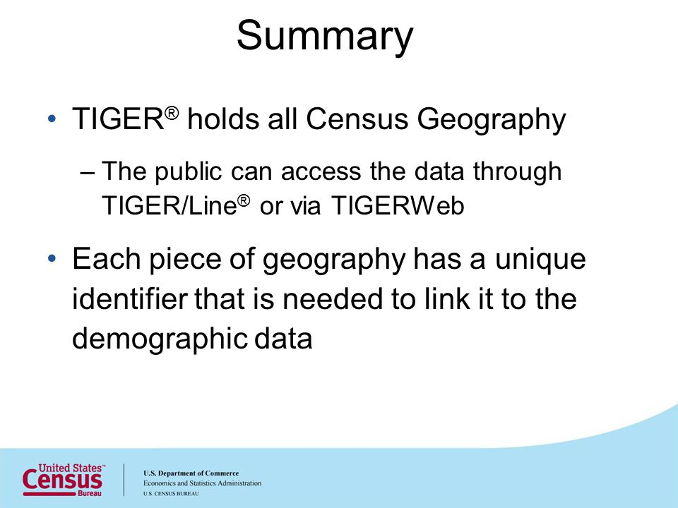Summary TIGER ® holds all Census Geography –The public can access the data through TIGER/Line ® or via TIGERWeb Each piece of geography has a unique i