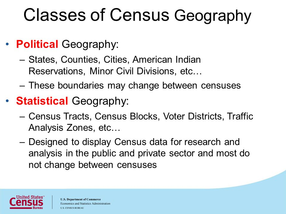 Classes of Census Geography Political Geography: –States, Counties, Cities, American Indian Reservations, Minor Civil Divisions, etc… –These boundarie