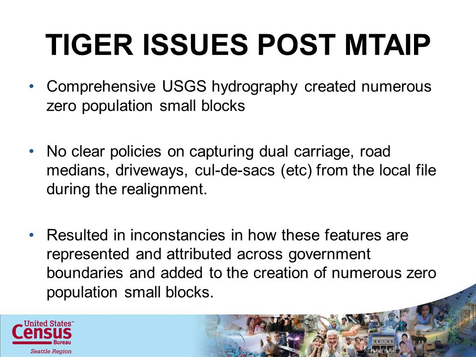 TIGER ISSUES POST MTAIP Comprehensive USGS hydrography created numerous zero population small blocks No clear policies on capturing dual carriage, road medians, driveways, cul-de-sacs (etc) from the local file during the realignment.