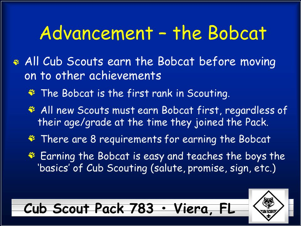 Cub Scout Pack 783 Viera, FL Advancement – the Bobcat All Cub Scouts earn the Bobcat before moving on to other achievements The Bobcat is the first rank in Scouting.
