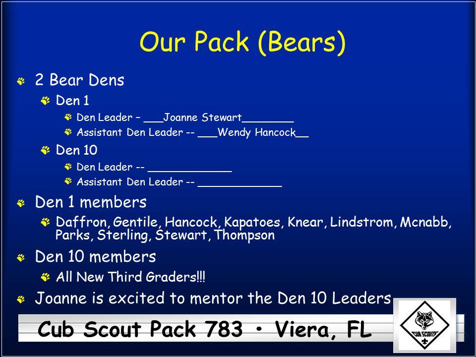 Cub Scout Pack 783 Viera, FL Our Pack (Bears) 2 Bear Dens Den 1 Den Leader – ___Joanne Stewart________ Assistant Den Leader -- ___Wendy Hancock__ Den