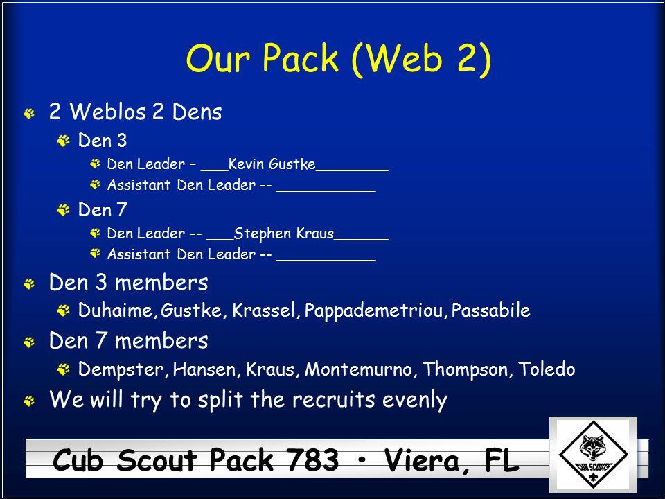 Cub Scout Pack 783 Viera, FL Our Pack (Web 2) 2 Weblos 2 Dens Den 3 Den Leader – ___Kevin Gustke________ Assistant Den Leader -- ___________ Den 7 Den