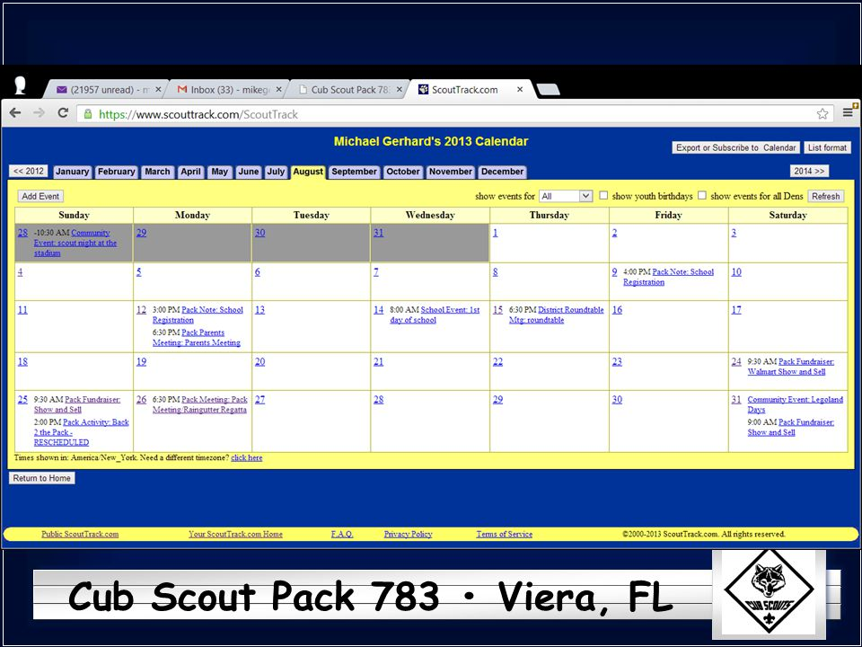Cub Scout Pack 783 Viera, FL l Upcoming events, calendar Calendar is maintained in scouttrack