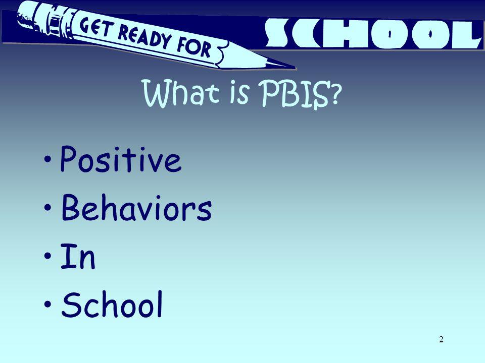 What is PBIS? Positive Behaviors In School 2