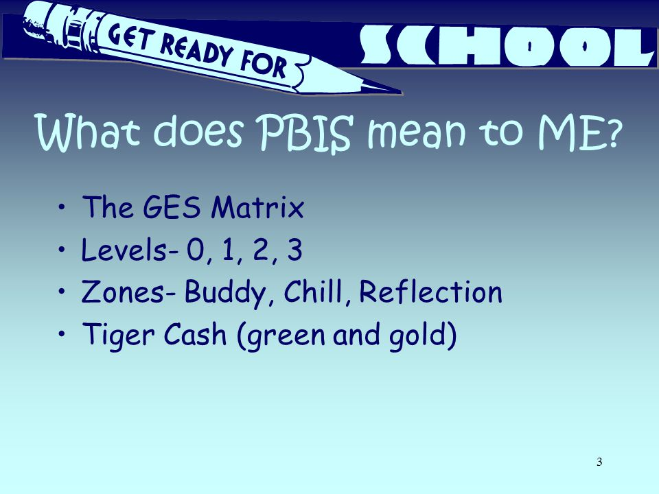 What does PBIS mean to ME? The GES Matrix Levels- 0, 1, 2, 3 Zones- Buddy, Chill, Reflection Tiger Cash (green and gold) 3