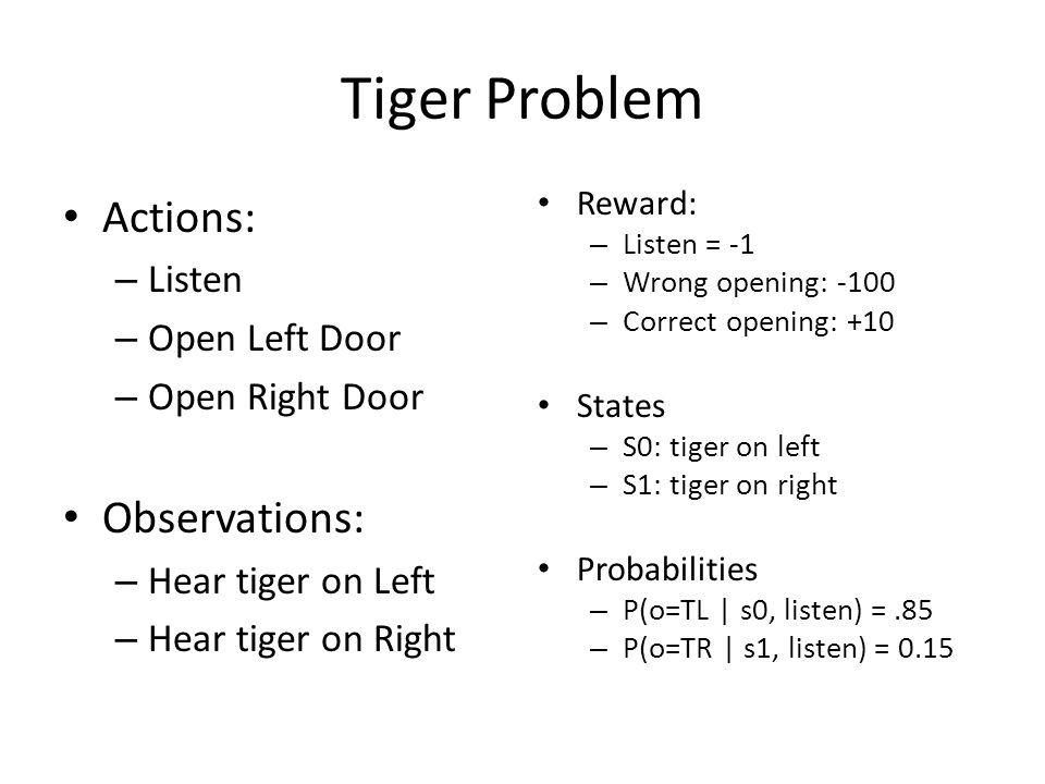 Tiger Problem Actions: – Listen – Open Left Door – Open Right Door Observations: – Hear tiger on Left – Hear tiger on Right Reward: – Listen = -1 – Wrong opening: -100 – Correct opening: +10 States – S0: tiger on left – S1: tiger on right Probabilities – P(o=TL | s0, listen) =.85 – P(o=TR | s1, listen) = 0.15