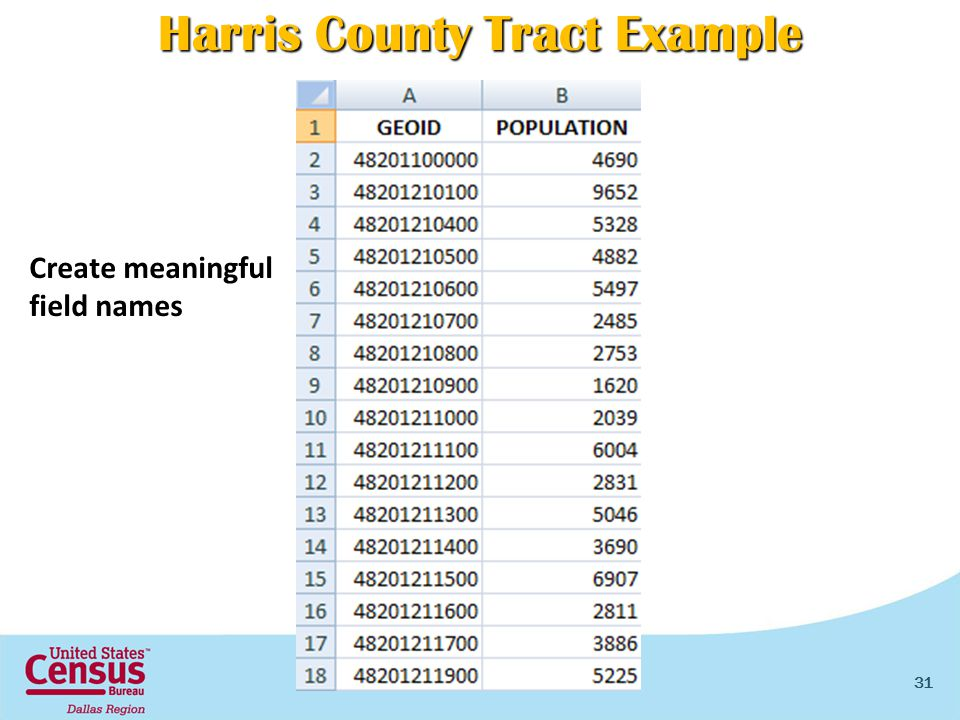 31 Create meaningful field names Harris County Tract Example