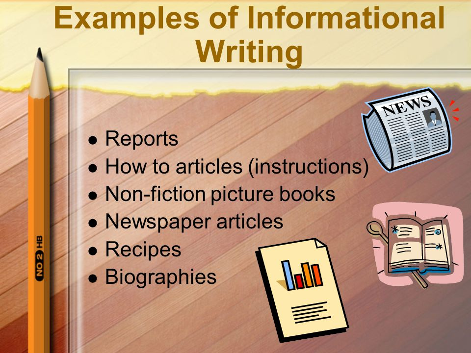 Purpose of Informational Writing The purpose is to inform, clarify, explain, define, or instruct by giving information, explaining why or how, clarifying a process, or defining a concept.