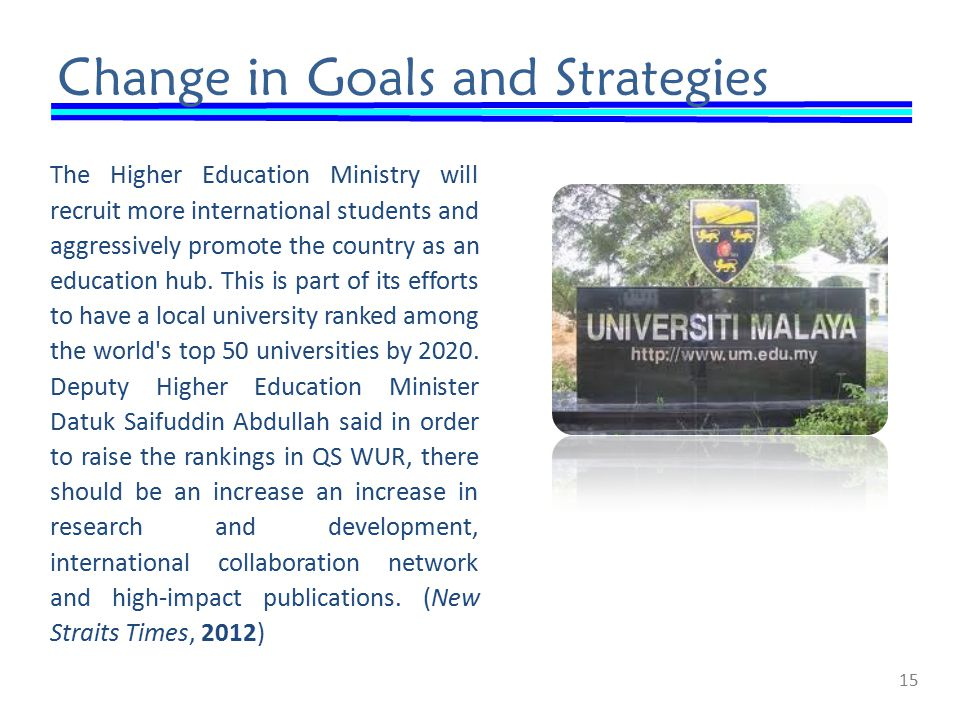 Change in Goals and Strategies The Higher Education Ministry will recruit more international students and aggressively promote the country as an education hub.