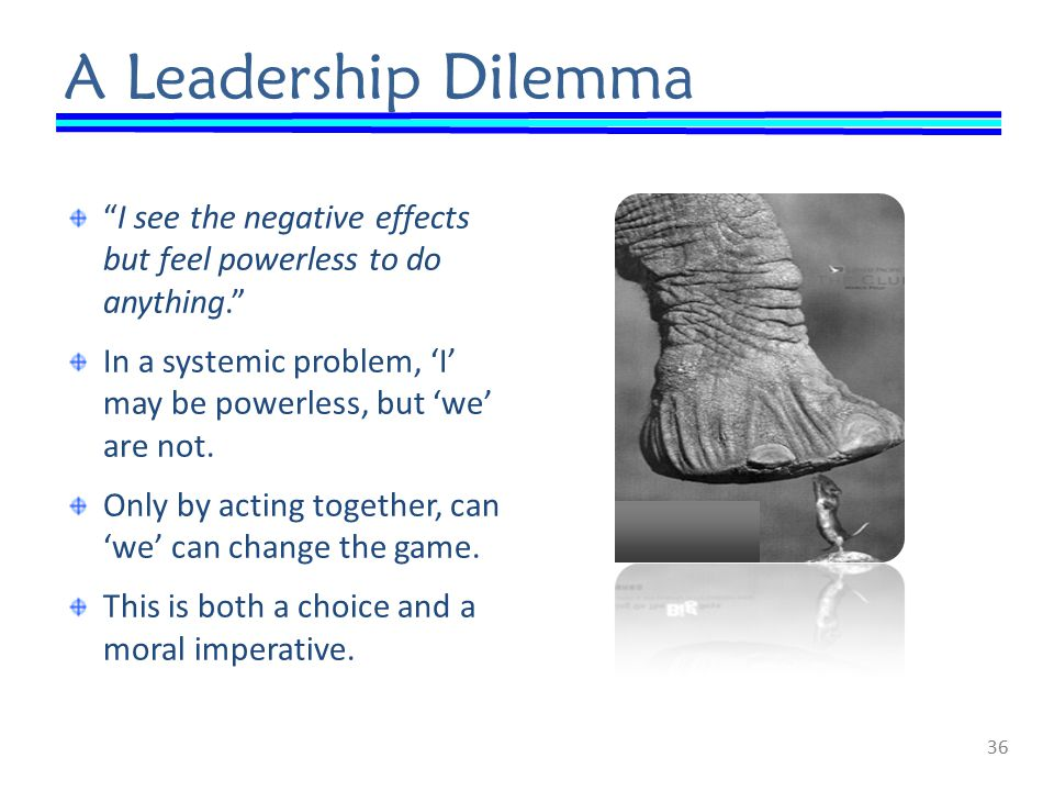 A Leadership Dilemma I see the negative effects but feel powerless to do anything. In a systemic problem, 'I' may be powerless, but 'we' are not.