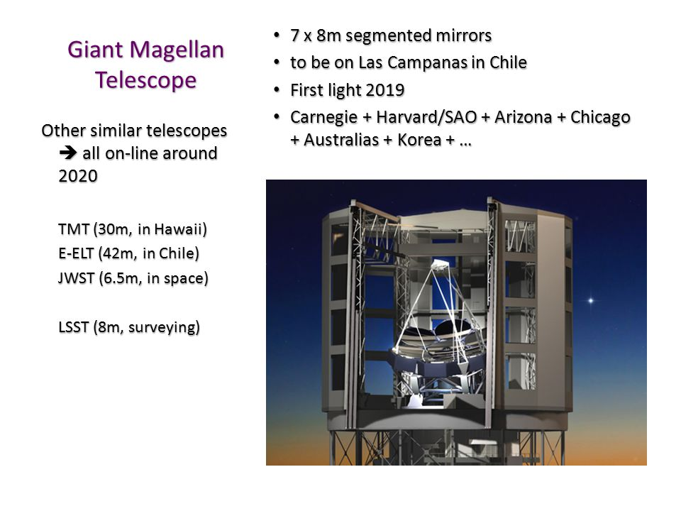 Giant Magellan Telescope 7 x 8m segmented mirrors 7 x 8m segmented mirrors to be on Las Campanas in Chile to be on Las Campanas in Chile First light 2019 First light 2019 Carnegie + Harvard/SAO + Arizona + Chicago + Australias + Korea + … Carnegie + Harvard/SAO + Arizona + Chicago + Australias + Korea + … Other similar telescopes  all on-line around 2020 TMT (30m, in Hawaii) E-ELT (42m, in Chile) JWST (6.5m, in space) LSST (8m, surveying)
