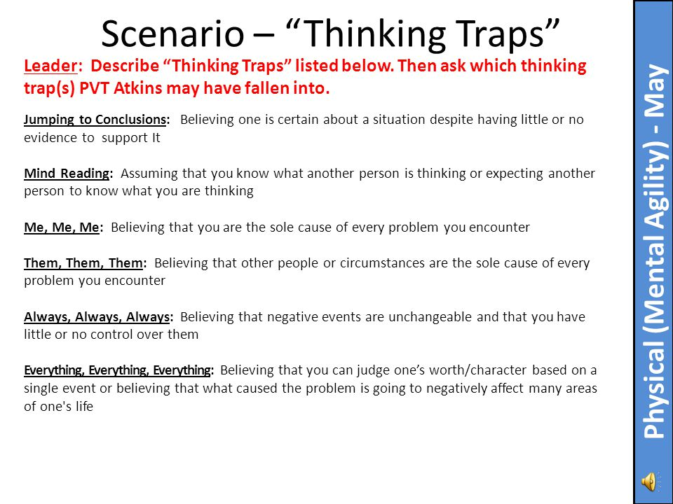 "Bottom Line Up Front: ""Thinking Traps"" are overly rigid patterns of thinking that can cause us to miss critical information about a situation or an in"