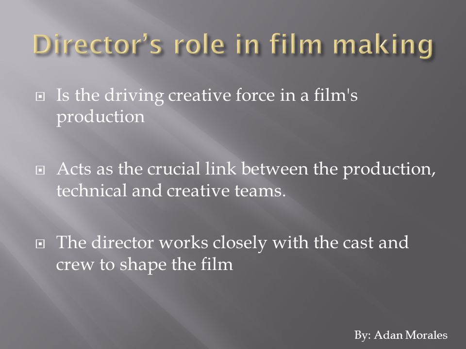  Is the driving creative force in a film s production  Acts as the crucial link between the production, technical and creative teams.
