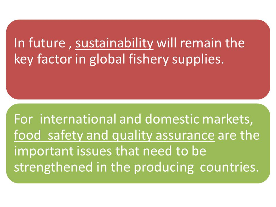 In future, sustainability will remain the key factor in global fishery supplies.