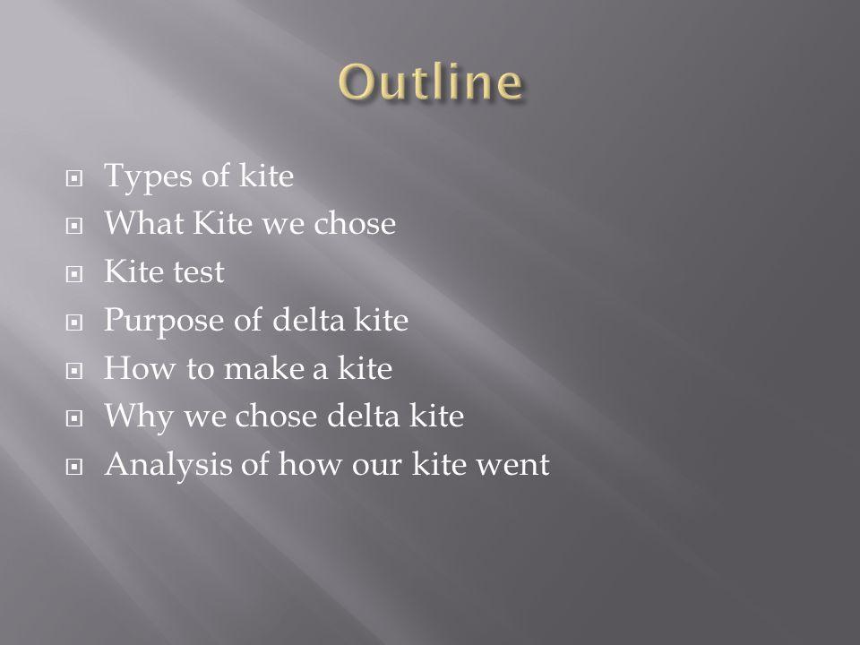  Types of kite  What Kite we chose  Kite test  Purpose of delta kite  How to make a kite  Why we chose delta kite  Analysis of how our kite went