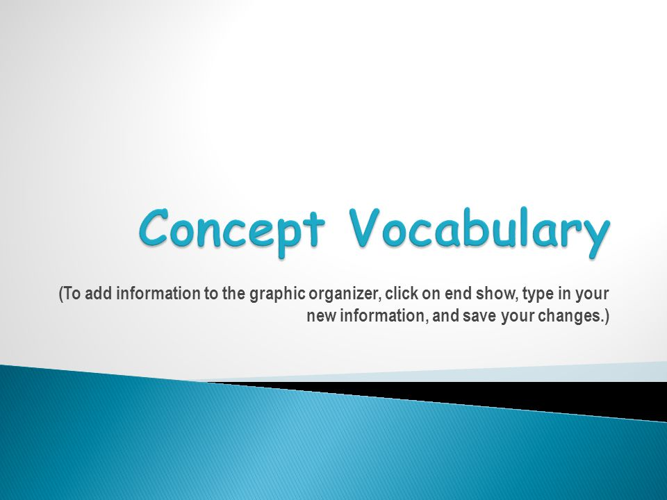 (To add information to the graphic organizer, click on end show, type in your new information, and save your changes.)