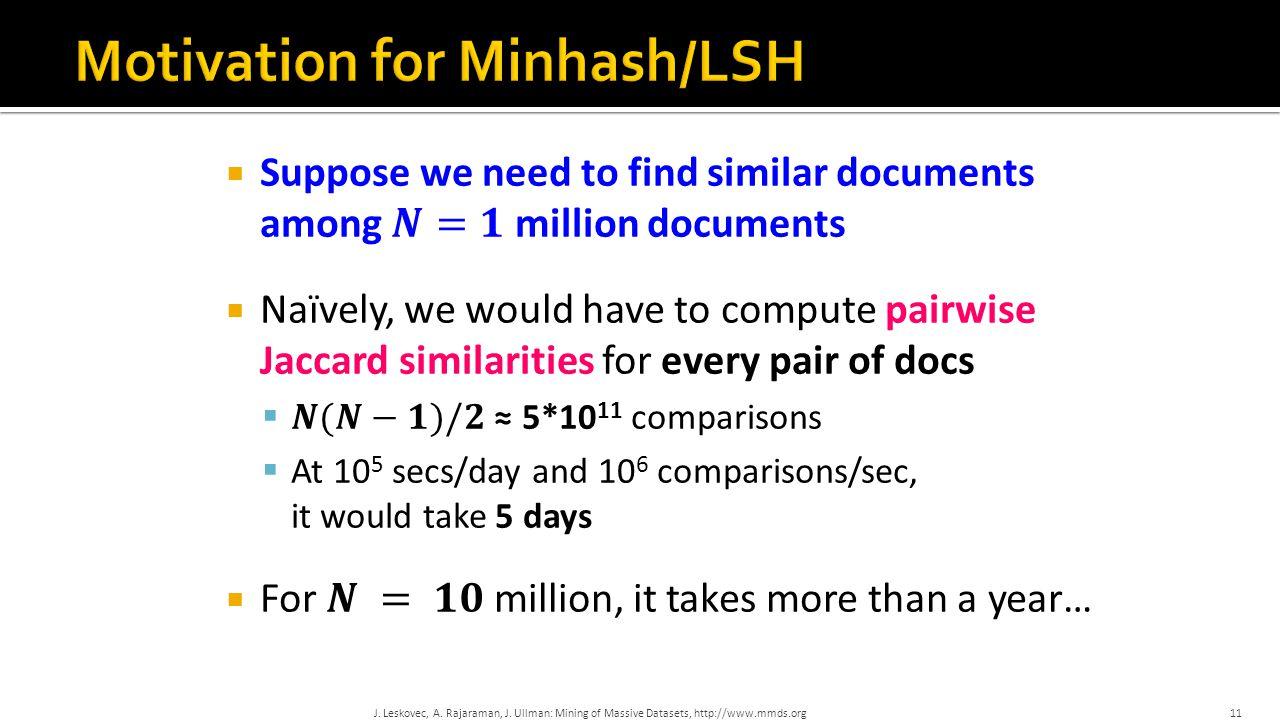 J. Leskovec, A. Rajaraman, J. Ullman: Mining of Massive Datasets, http://www.mmds.org11