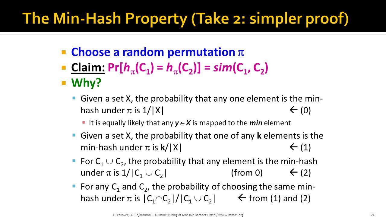  Choose a random permutation   Claim: Pr[h  (C 1 ) = h  (C 2 )] = sim(C 1, C 2 )  Why.