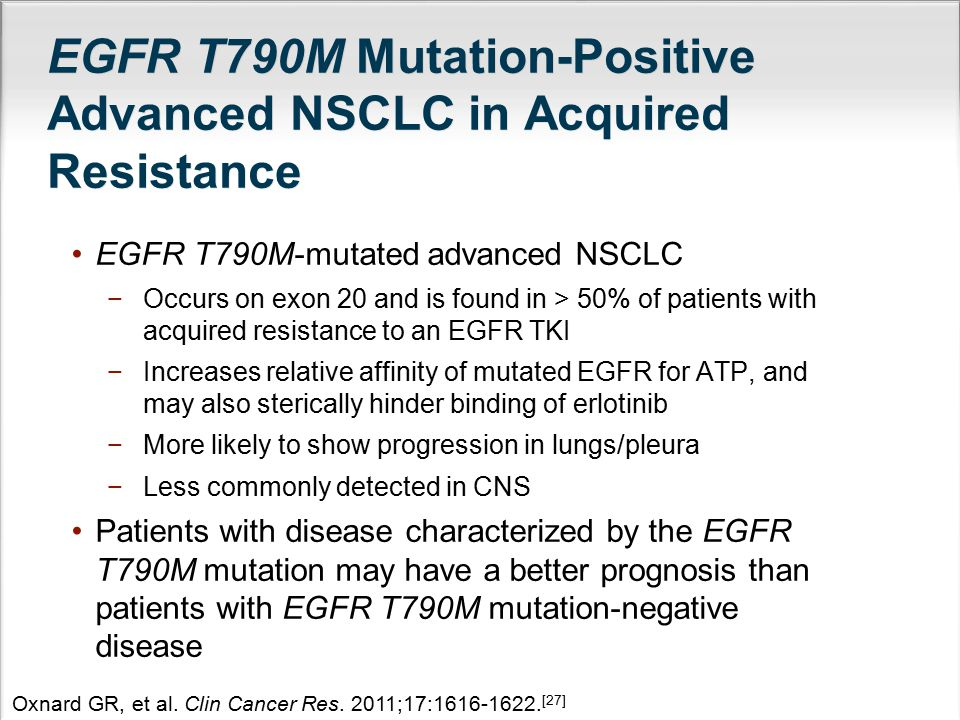 EGFR T790M Mutation-Positive Advanced NSCLC in Acquired Resistance EGFR T790M-mutated advanced NSCLC −Occurs on exon 20 and is found in > 50% of patie